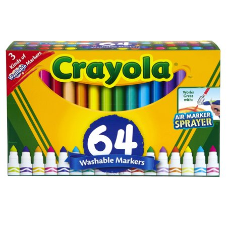 Crayola Washable Markers Set, Broad Line, Coloring Supplies, 64 ...