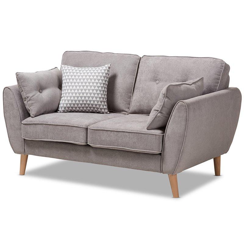Baxton Studio Miranda Mid-Century Modern Light Grey Fabric Upholstered Loveseat