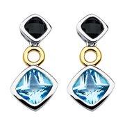 Boston Bay Diamonds  18k Yellow Gold & 925 Sterling Silver 4mm Black Onyx & 6mm Blue Topaz Earrings