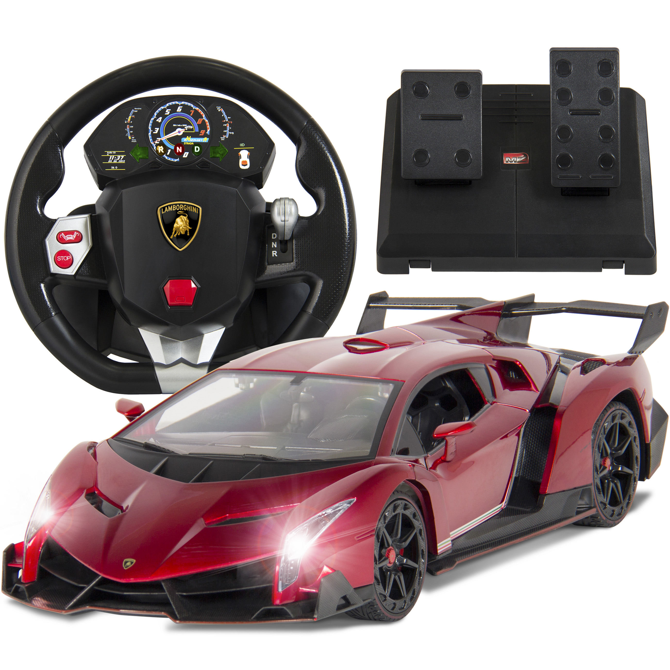 Best Choice Products 1/14 Scale RC Lamborghini Veneno Realistic Driving Gravity Sensor Remote Control Car Red