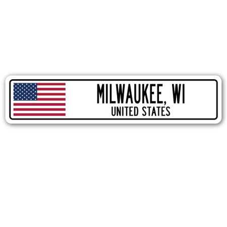 MILWAUKEE, WI, UNITED STATES Street Sign American flag city country   gift (Party City Milwaukee Wi)