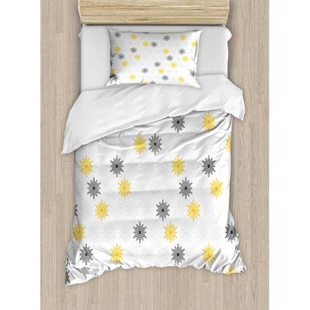 Ambesonne Moroccan Style Modern Sun Beam Flowers With Rounds Dots Image Duvet Cover Set