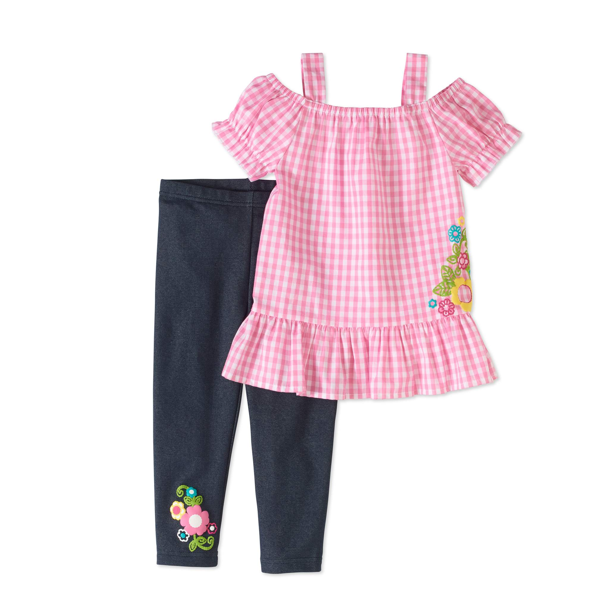 Healthtex Toddler Girls' Cold Shoulder Woven Tunic and Leggings 2-Piece Outfit Set