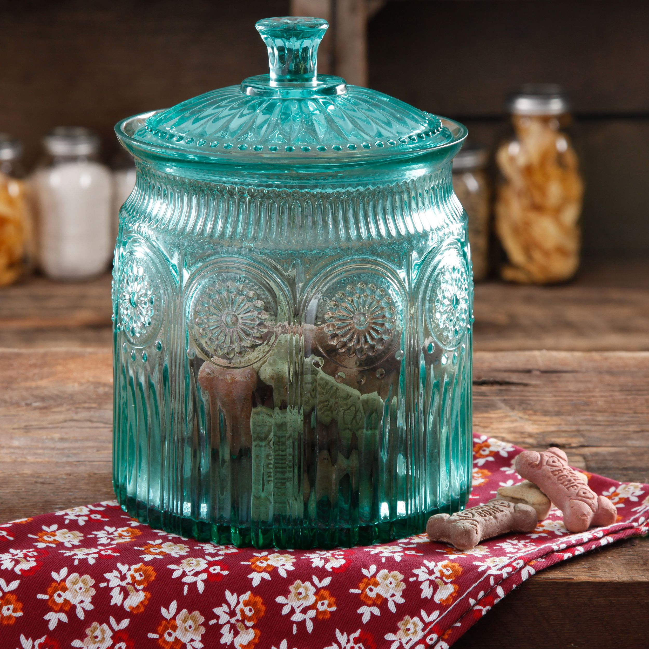 Pioneer Woman Adeline Glass Cookie Jar Turquoise
