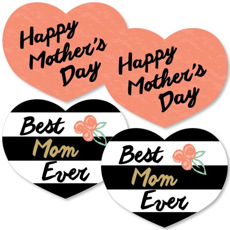 Best Mom Ever - Heart Decorations DIY Mother's Day Essentials - Set of