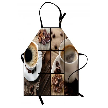 Brown Apron Coffee Themed Collage Close Up Mugs Beans on Wooden Table Aromatic Roasted Espresso Drink, Unisex Kitchen Bib Apron with Adjustable Neck for Cooking Baking Gardening, Brown, by - Halloween Themed Espresso Drinks