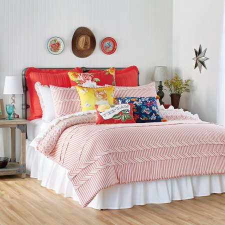 The Pioneer Woman Ticking Stripe Duvet, Full/Queen, Red (Timeless Ticking Stripe)
