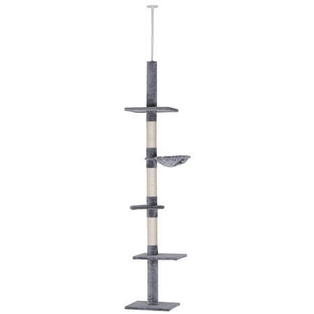 PawHut 8.5' Adjustable Height Floor-To-Ceiling Vertical Cat Tree