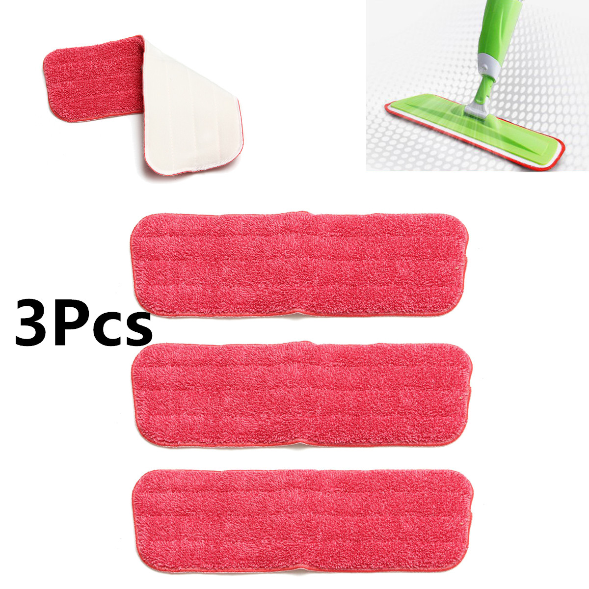 3pcs Microfiber Wet Mop Scrubbing Pads Washable Spray Mop Pad Replacement Mop Head Household Dust Cleaning