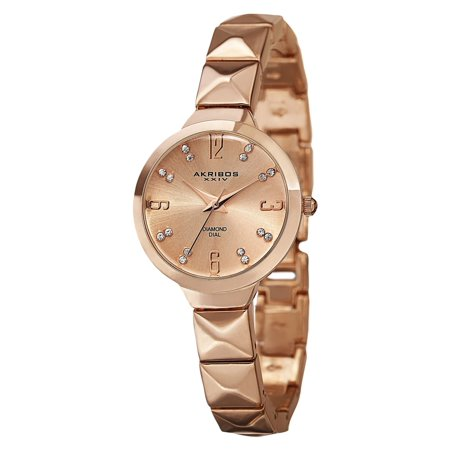 Women's Swiss Quartz Diamond Markers Rose-Tone Bracelet Watch with FREE Bangle