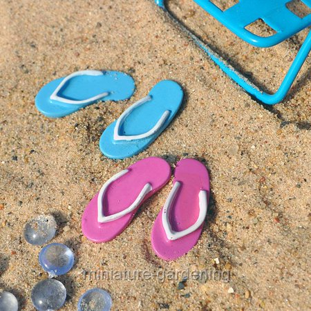 Miniature Beach Flip Flops, Set of 2 for Miniature Garden, Fairy Garden - Miniature Fairy Gardens