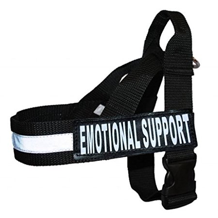 Support Harness - EMOTIONAL SUPPORT Nylon Strap Service Dog Harness No Pull Guide Assistance comes with 2 reflective EMOTIONAL SUPPORT removable patches. Please measure your dog before ordering.