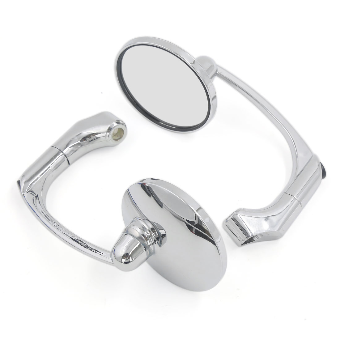 "Chrome Aluminum Stem 3"" Dia Round Rear View Mirrors Side Mirror for Motorcycle"