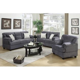 Attractive Junik 3 Pieces Living Room Set In Microfiber