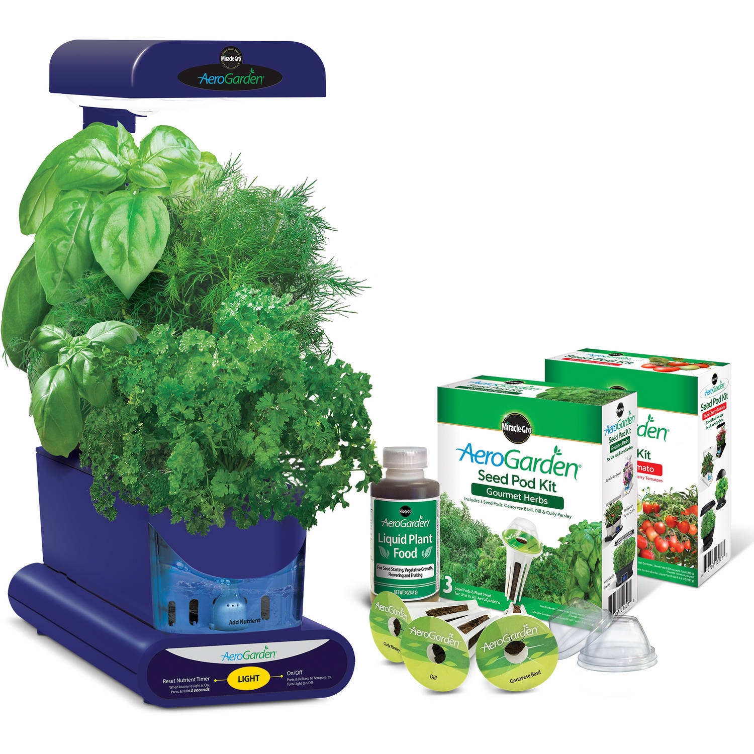 Miracle-Gro AeroGarden Sprout Blue with Gourmet Herbs Seed Pod Kit and Bonus Mighty Mini Cherry Tomato Seed Pod Kit