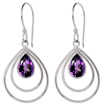 Dangle Birthstones Jewelry - 3.15 Ctw Elegant Pear Natural Purple Amethyst Earrings, Fashion Brass Jewelry Dangle Fish Hook Backend Earrings, Best Gift For Women