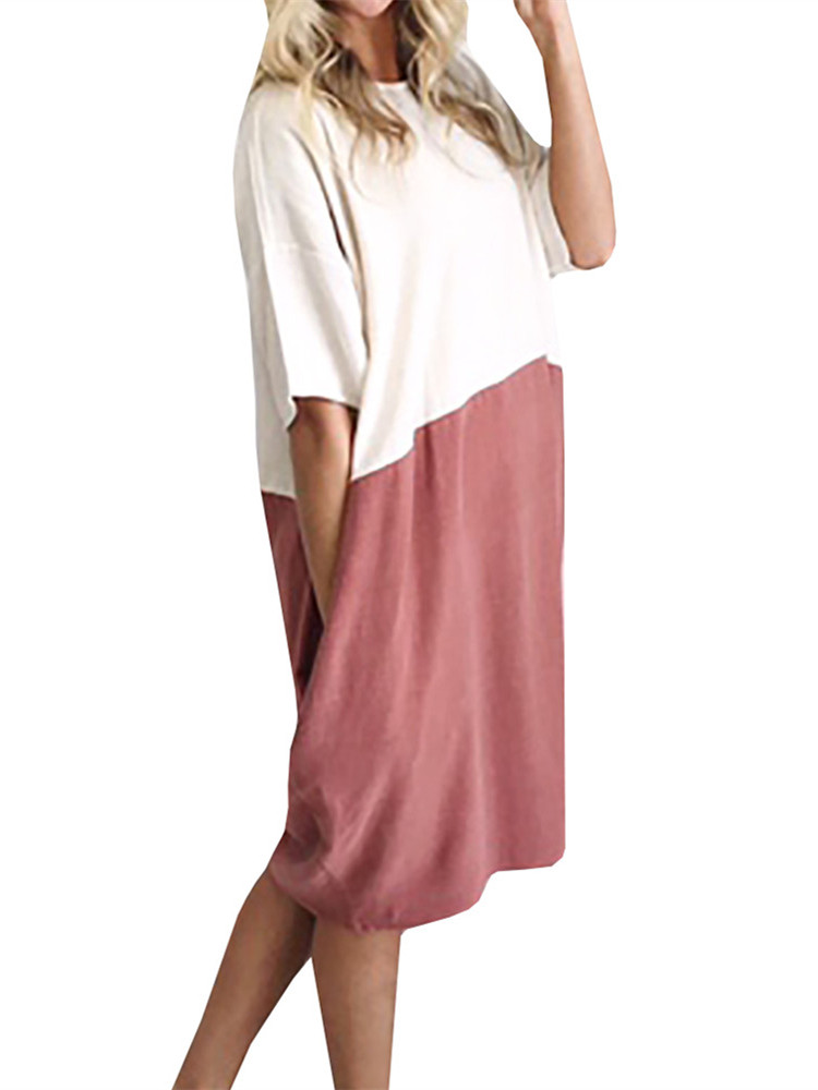 2 Colors Block Women Casual Loose Dress Half Sleeved Dresses