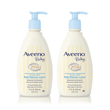 (2 Pack) Aveeno Baby Daily Moisture Lotion with Natural Colloidal Oatmeal, 12 fl. oz