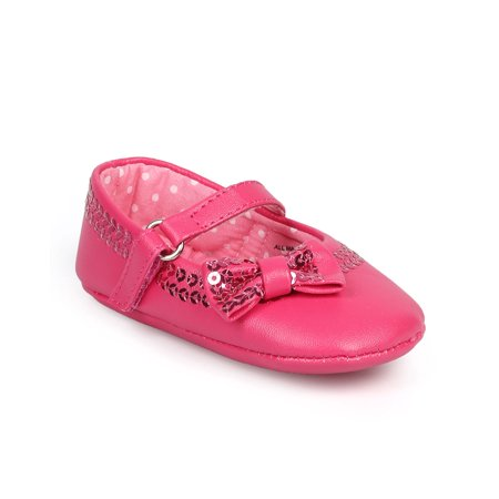 New Girl Aadi Aadi-051 Leatherette Sequin hook and loop Mary Jane Bow Flat (Infant) Sz](Sequin Flat)