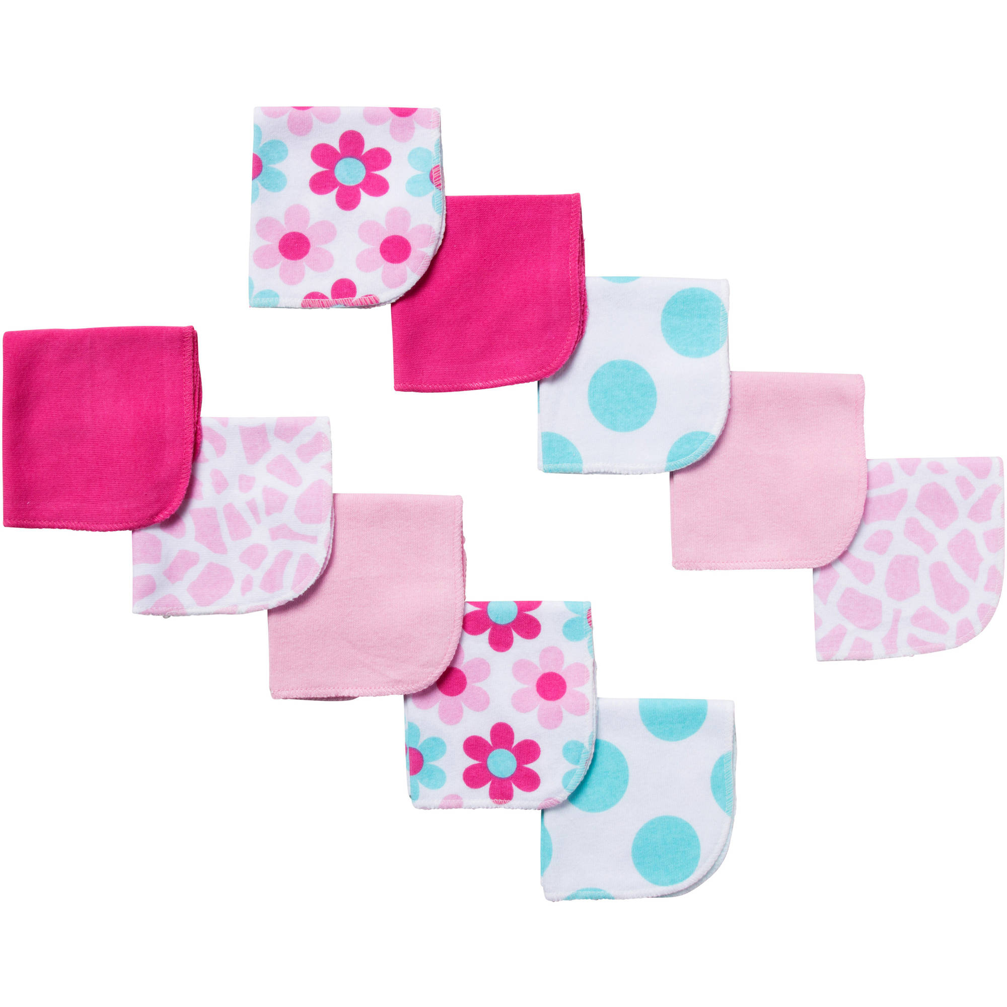 Gerber Newborn Baby Girl Terry Printed Giraffe Washcloths - 10 pack