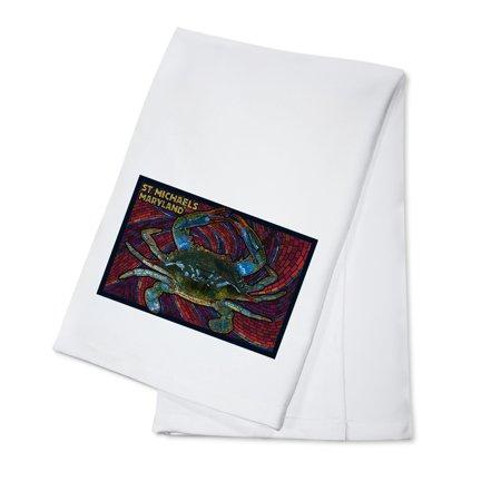 St. Michaels, Maryland - Blue Crab Paper Mosaic - Lantern Press Poster (100% Cotton Kitchen Towel) - Paper Lanterns Michaels