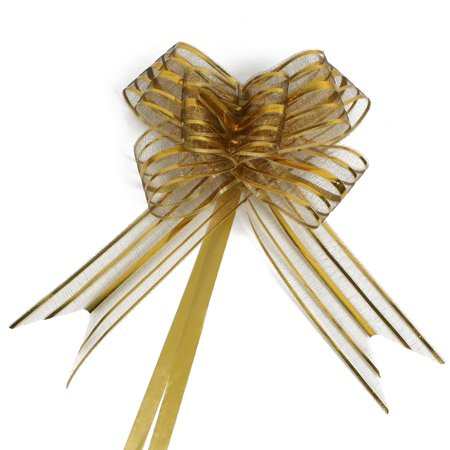 Wedding Party Gift Wrapping Ribbon Pull Bow Decoration Gold Tone 5cm Width - Ribbon For Bows
