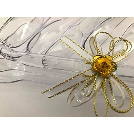 6 Plastic Serving Tongs Candy Bar Ice Party Supplies for Birthday Baby Shower Wedding Party Gold and White Bow