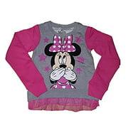[P] Disney Girls' Minnie Mouse Two Tone Tulle Ruffle Raglan Long Sleeve Fashion Top Tee Shirt (XL)