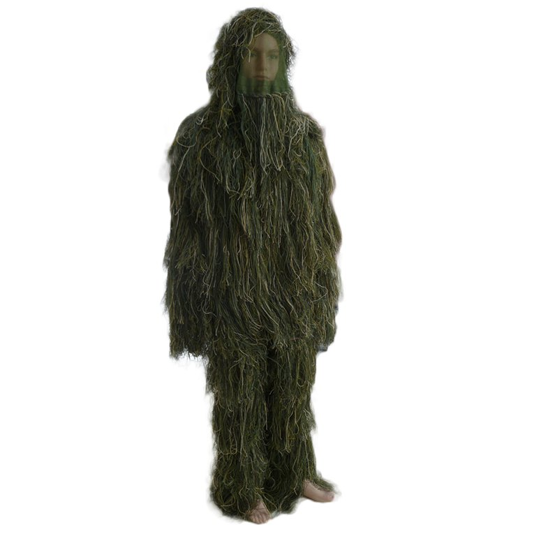 New Ghillie Suit M L Camo Woodland Camouflage Forest Hunting 3D 4-Piece + Bag by Generic