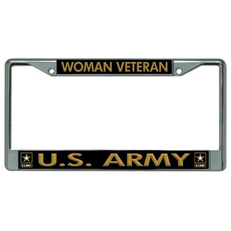 Woman Veteran U.S. Army Chrome License Plate Frame