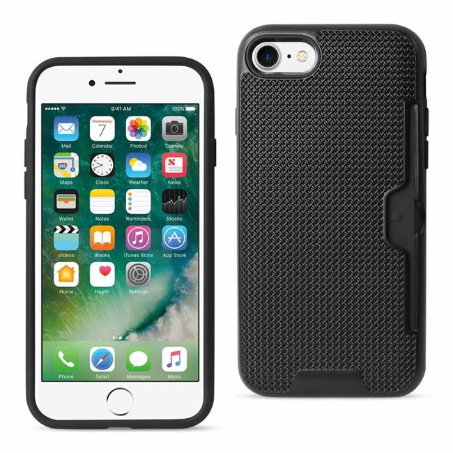 Reiko SPWC02-IPHONE7BK Apple 7 Slim Mesh Surface Armor Hybrid Case with Card Holder, Black