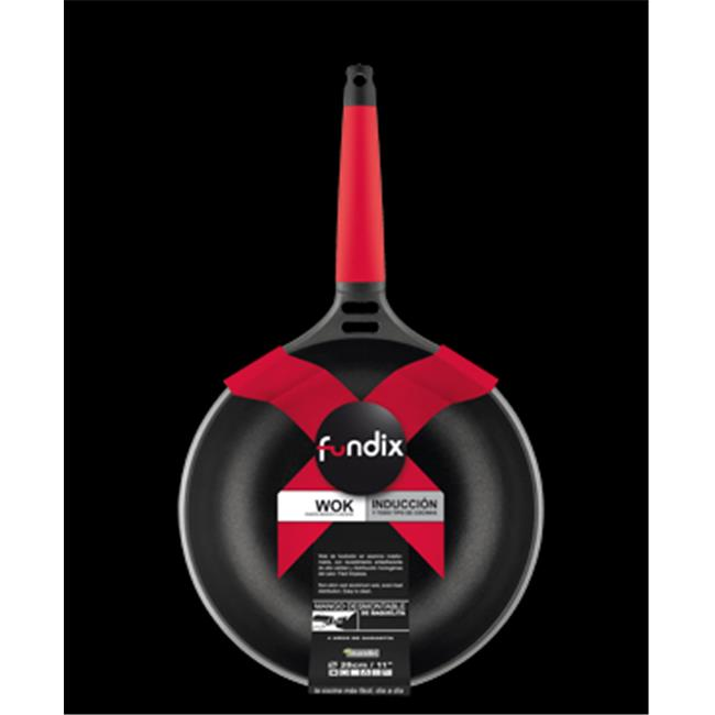 Fundix F2-IW28 11 inch Wok with Removable Handle - Red