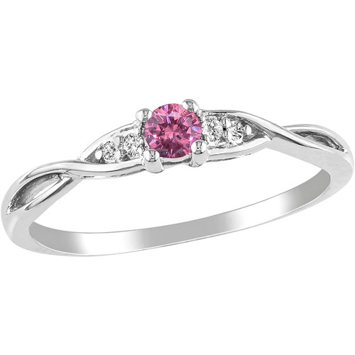 Miabella 1/7 Carat T.W. Pink and White Diamond Fashion Ring in Sterling Silver