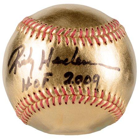 (Rickey Henderson Oakland Athletics Fanatics Authentic Autographed 24 Karat Gold Baseball with HOF 2009 Inscription - No Size)