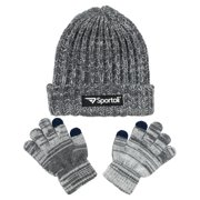 Sportoli Men's and Boys' Kids 2-Piece Marled Knit Cold Weather Accessory Set Warm Pull On Hat Scarf and Gloves