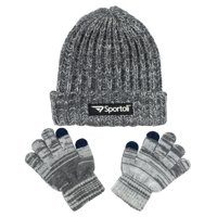 ca735e6348d Sportoli Men s and Boys  Kids 2-Piece Marled Knit Cold Weather Accessory Set  Warm