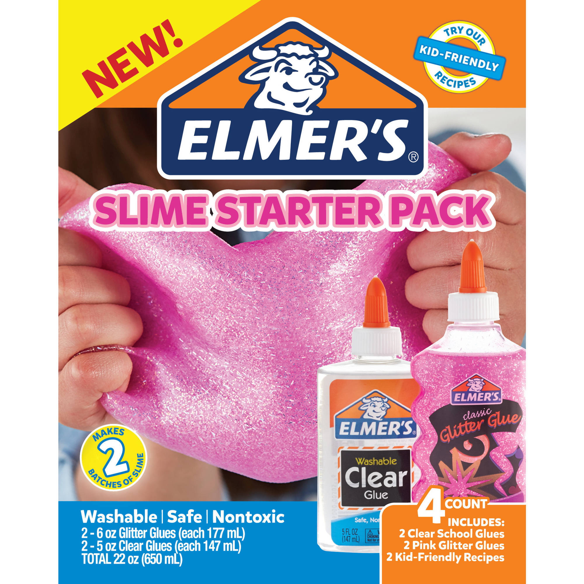 Elmer's Slime Kit 4ct. (2 Pink Glitter   2 Clear Glue) by Newell Brands