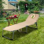 Chaise pliante Plage Chaise longue de camping Lit ajustable Patio extérieur Gymax