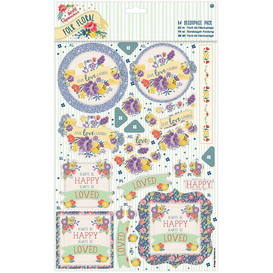 Papermania Folk Floral A4 Decoupage Pack
