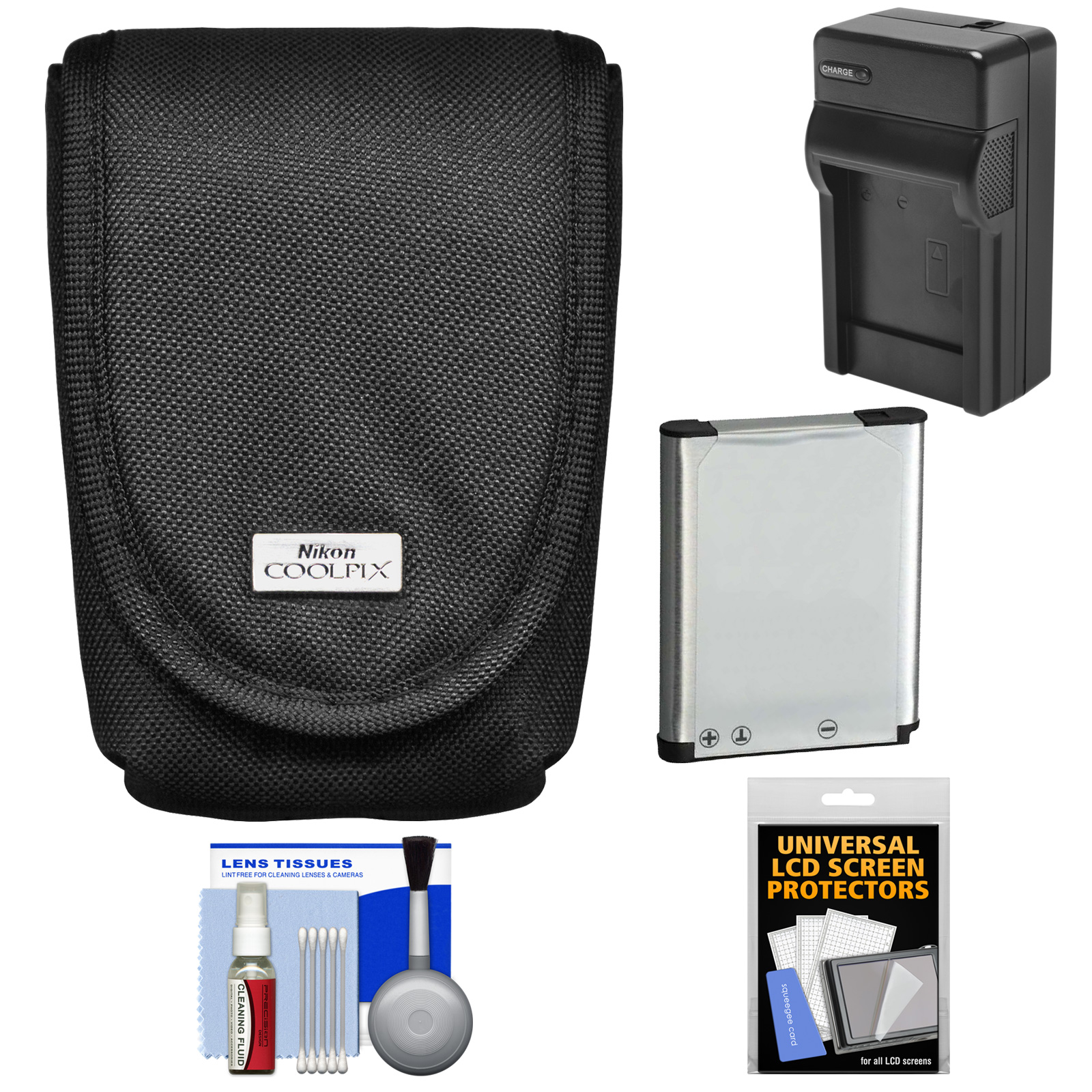 Nikon Coolpix 5879 Digital Camera Case with EN-EL19 Battery + Charger + Accessory Kit for S32, S3500, S4300, S5200, S5300, S6500, S6800