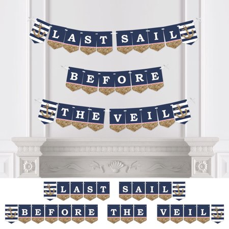 last sail before the veil nautical bridal shower bachelorette party bunting banner bridal