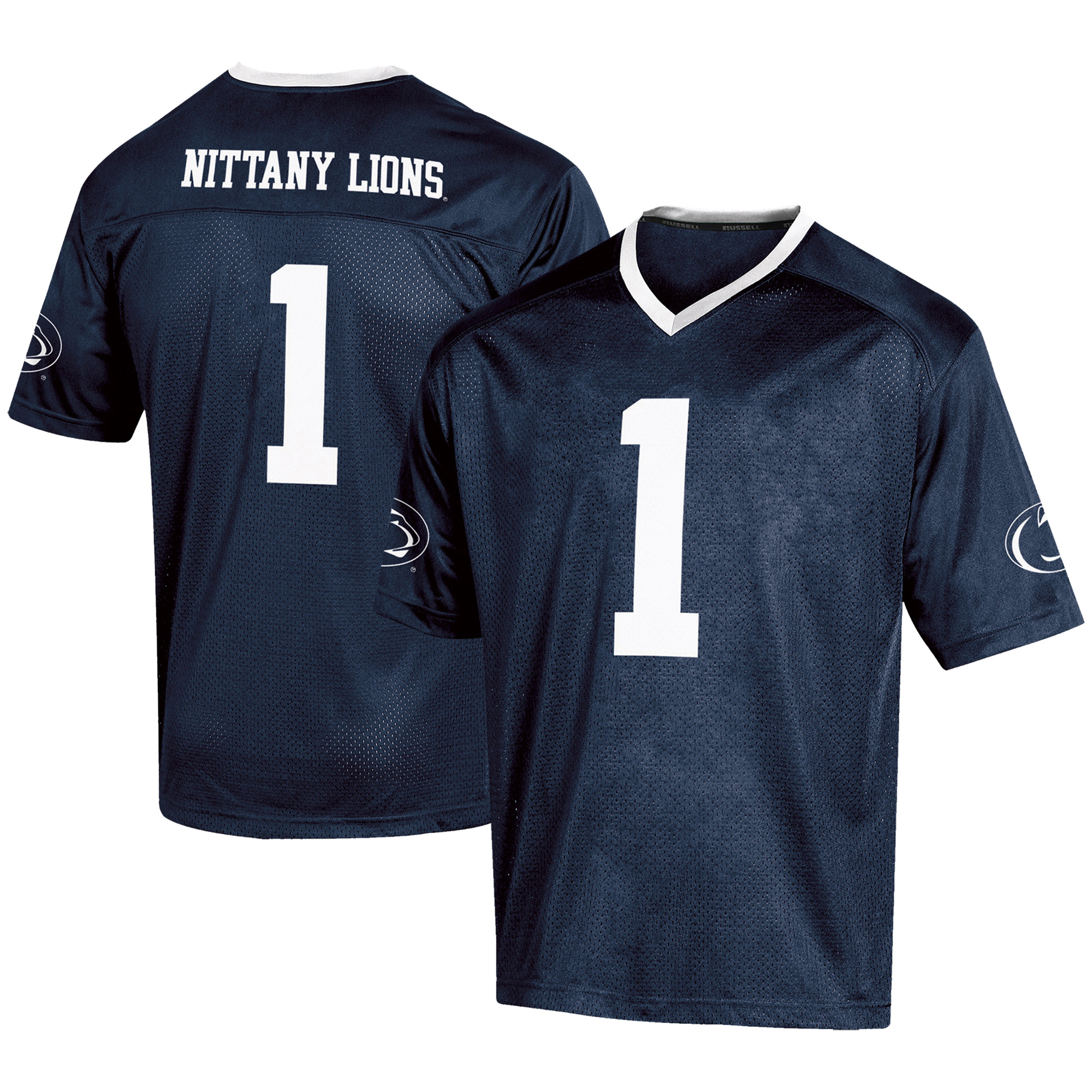 Men's Russell #1 Navy Penn State Nittany Lions Fashion Football Jersey