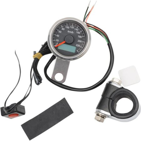 Drag Specialties Electronic - Drag Specialties 2210-0326 220 KM/H Mini Electronic Speedometer w/ Odometer/Tripmeter - Polished/Black Face - 2.37in.