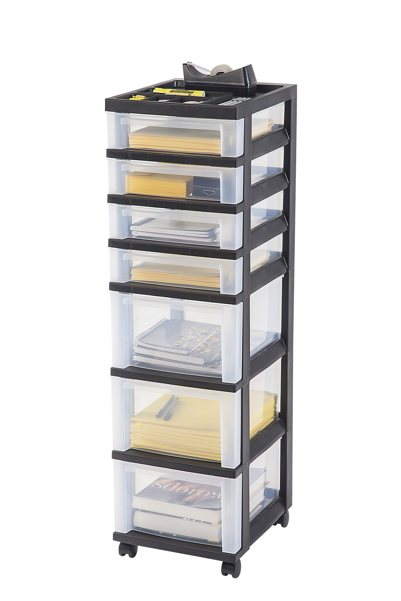 IRIS 7 Drawer Rolling Storage Cart With Organizer Top, Black