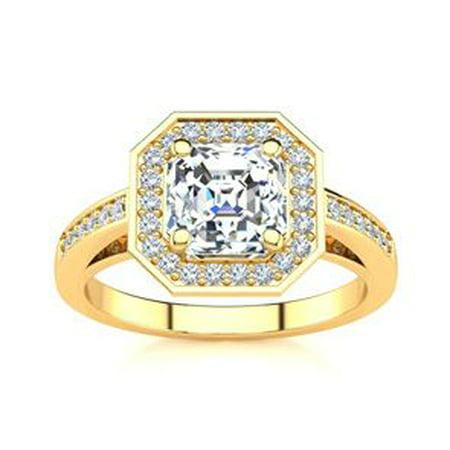 2 Carat Asscher Cut Halo Diamond Engagement Ring In 14 Karat Yellow Gold Size 7.5