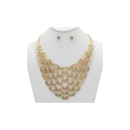 Fashion Chain Necklace Set (Womens Connected Chain Bib Fashion Gorgeous Necklace Earring Set MOS6037)