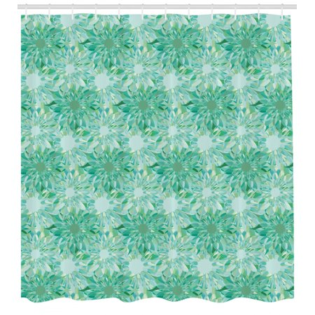 Turquoise Decor Shower Curtain Set, Floral Pattern With Beryl Crystal Guilloche Flowers Carving Art Decorating Image Print, Bathroom Accessories, 69W X 70L Inches, By Ambesonne Turquoise Carving Set