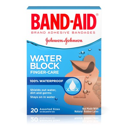 Band-Aid Brand Water Block Plus Finger Care Adhesive Bandages, Waterproof 20 Count