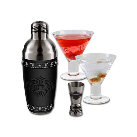 Harley-Davidson Bar & Shield Martini Glass Set, Stainless Steel HDL-18730, Harley Davidson