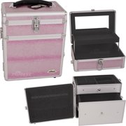 PINK SNAKE SKIN TEXTURED PRINTING JEWELRY AND MAKEUP CASE WITH MIRROR - C3010